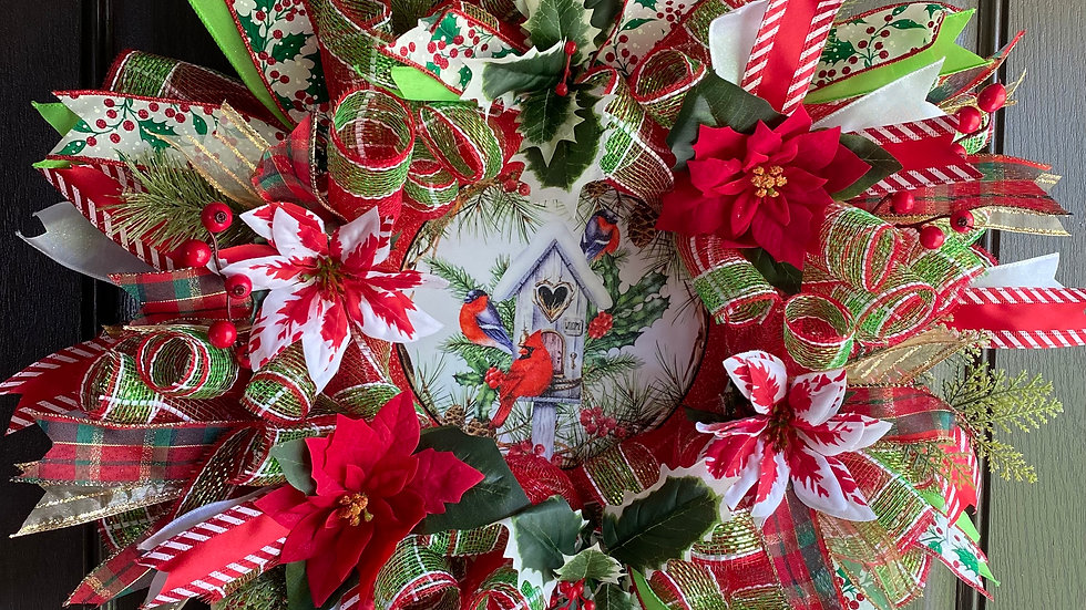 "24""  Christmas Mesh Wreath"