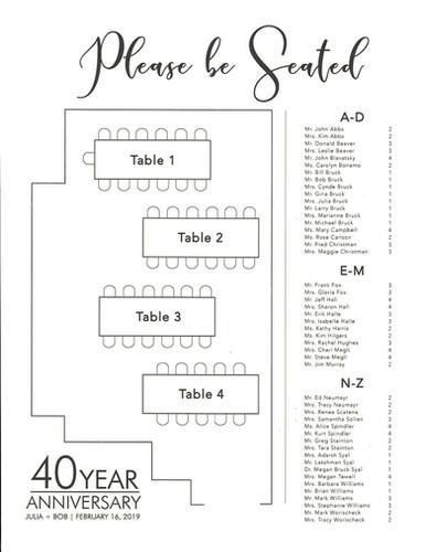 40th Anniversary Seating Chart