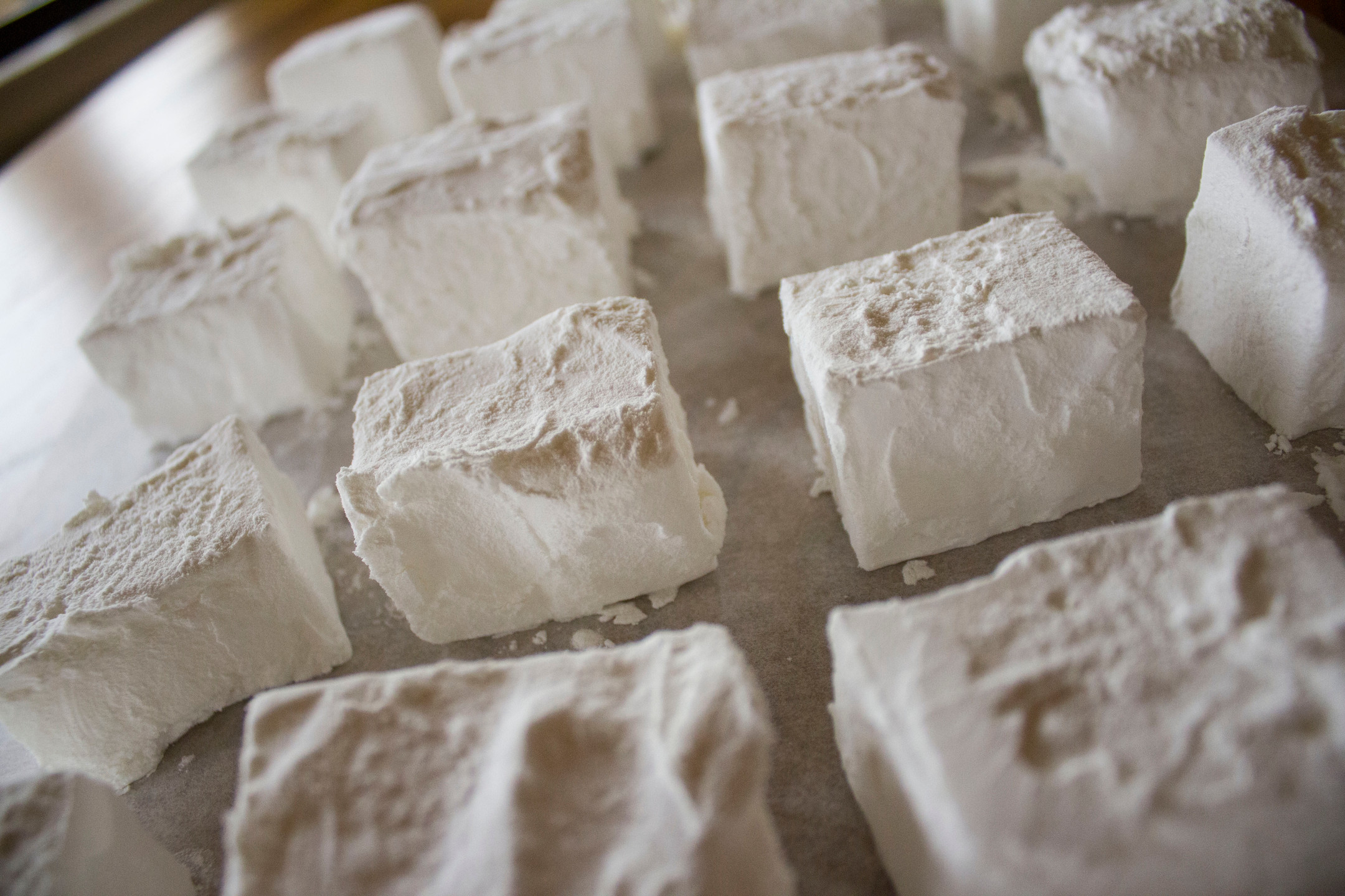 For the chocolate marshmallows, cocoa powder was used for coating. For the vanilla and peppermint marshmallows, cornstarch was used for coating.
