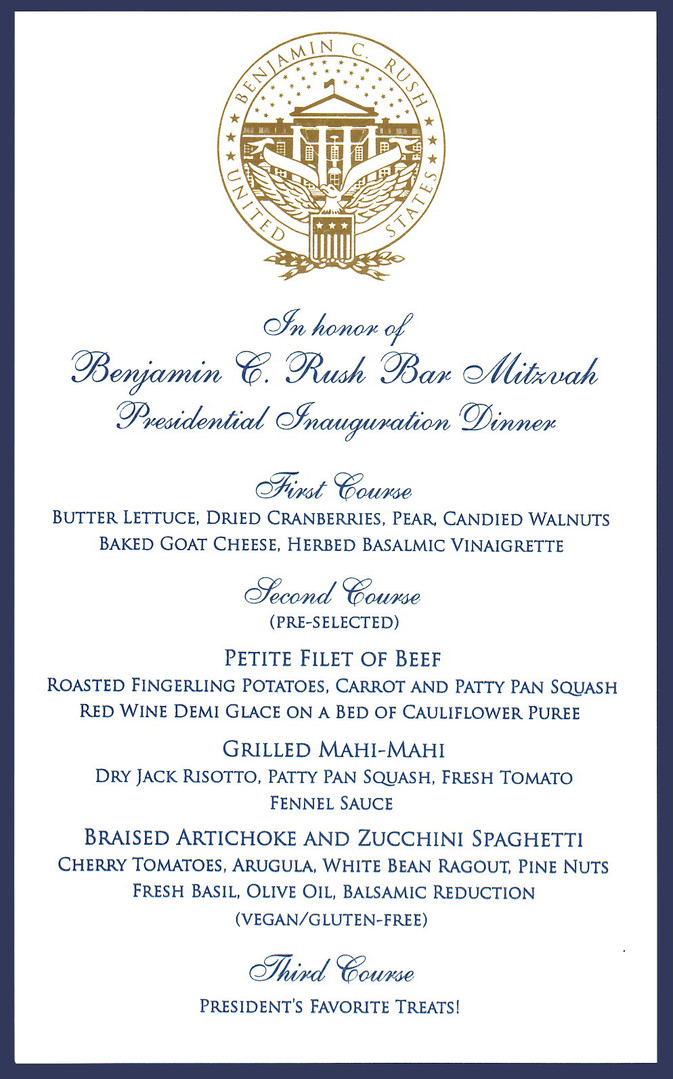 "Bar Mitzvah ""Presidential"" Menu"