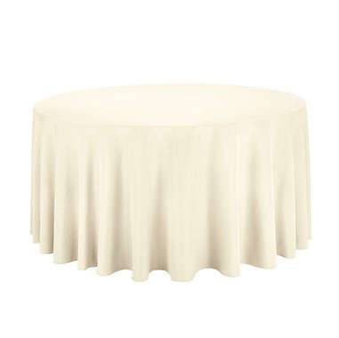 120 Inch Polyester Ivory Round Tableclot