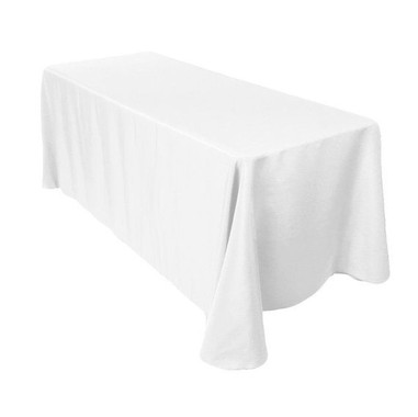 90 x 156 inch Rectangular White Tableclo