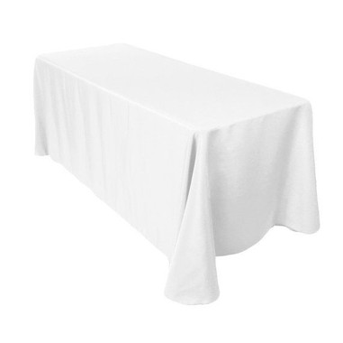 90 x 156 inch Rectangular White Tableclo