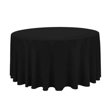 108 inch Round Black Tablecloth Polyeste
