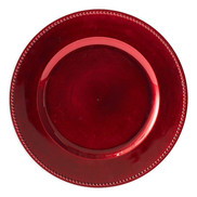 Beaded Charger Plates In Red (Set Of 6).