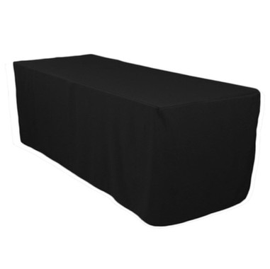 6 Ft Black Fitted Polyester Rectangular