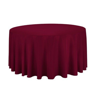 120%22 Round Burgundy Polyester Tableclo