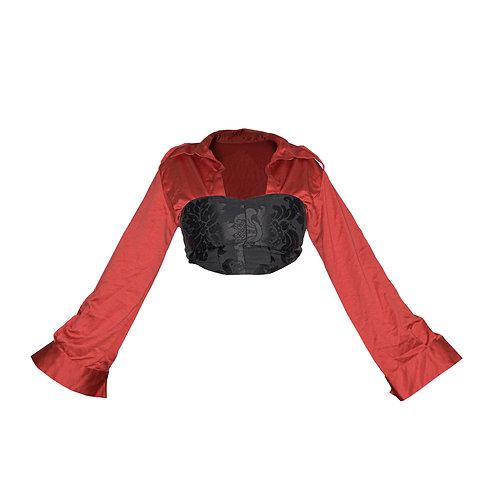 croped corset amarração & manga longa de cetim