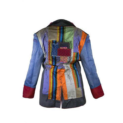 blazer com mangas jeans & bordados
