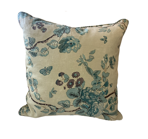Blue Floral Pillow with Welt