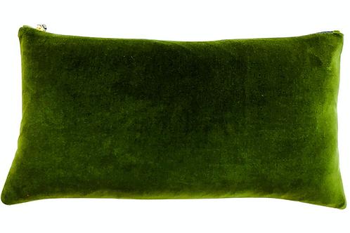 Green Velvet Lumbar Pillow with Contrast Zip