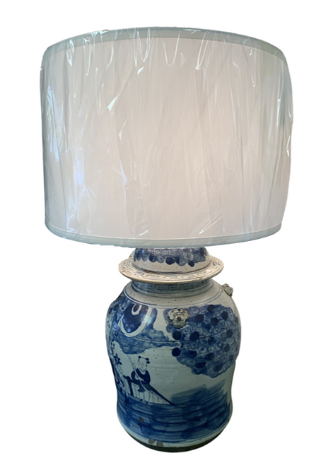 Vintage Blue & White Jar Lamp