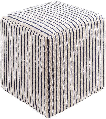 Upholstered Blue & White Striped Cube