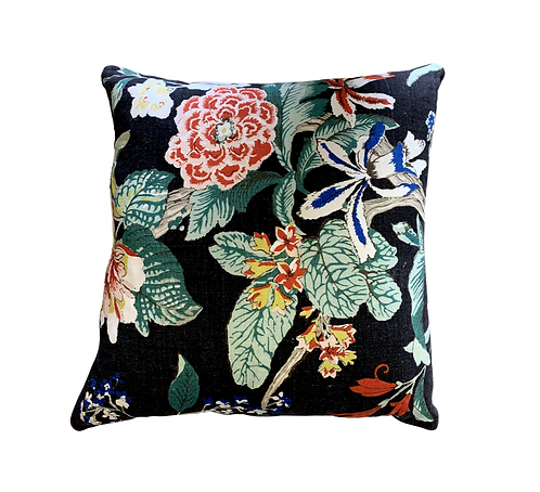 Black Floral Pillow