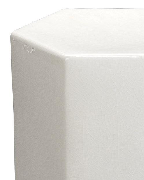 White Hex Ceramic Stool