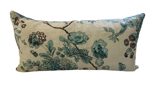 Blue Floral Lumbar Pillow