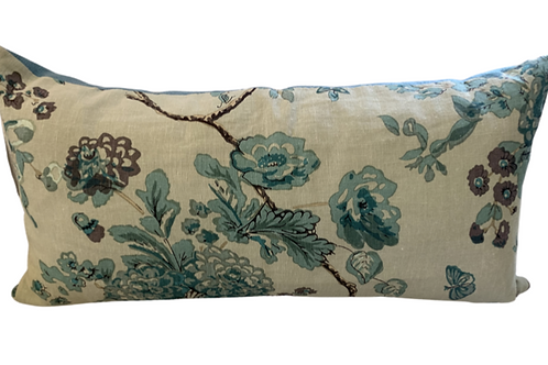 Blue Floral Lumbar Pillow