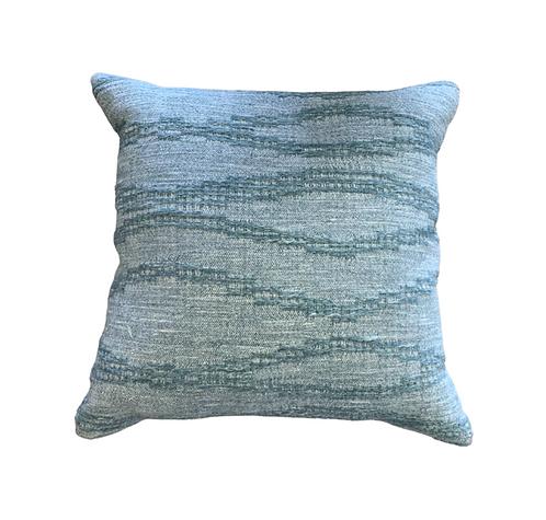 Blue Textured Woven Pillow