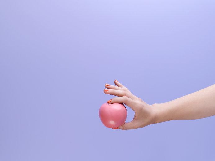 Pink Apple, Purple Background
