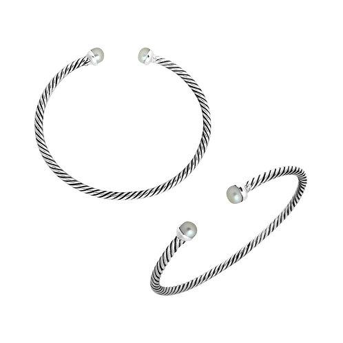 Braided Pearl Cuff Bracelet