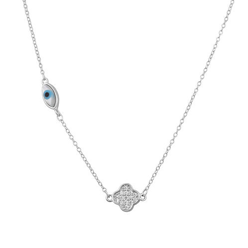 Mother of Pearl Oval Evil Eye Necklace