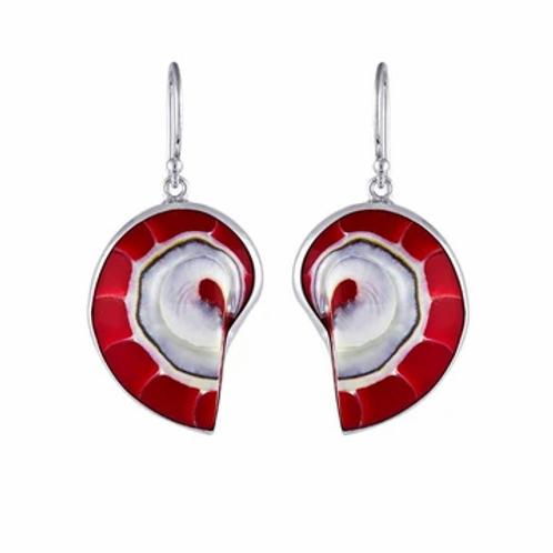 Astonishing Red Nautilus Earrings
