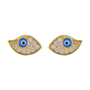 Fan Shape Evil Eye Earrings
