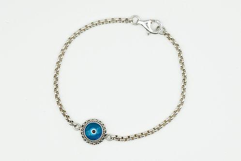 Blue Solitaire Evil Eye Bracelet