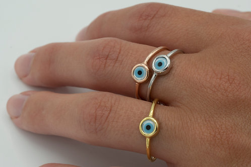 Single MOP Evil Eye Ring