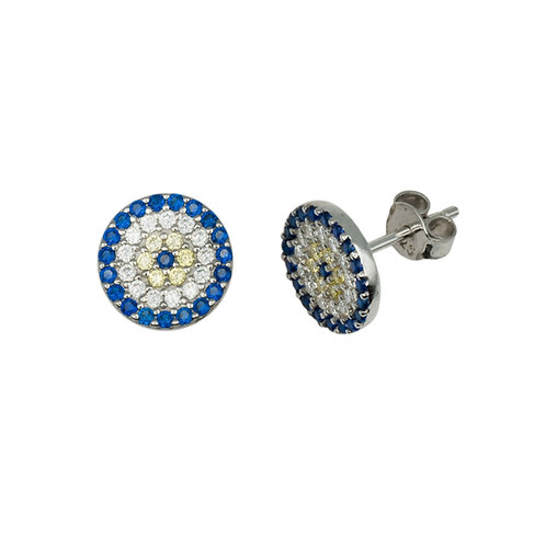 Single Disc Evil Eye Earrings