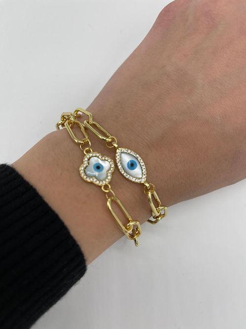 Jana Clover MOP Evil Eye Bracelet.