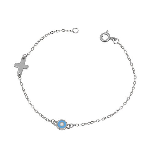 Evil Eye and Cross Kid's Bracelet
