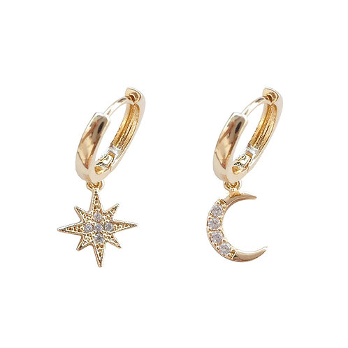 Kaci Star /Moon Charm Earrings.