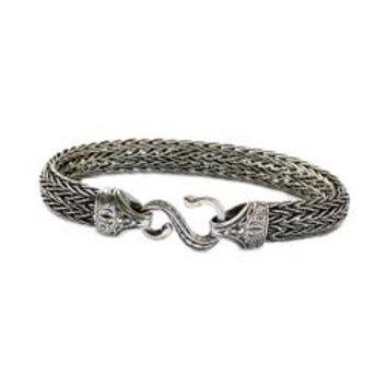 Baroque Braided Silver Bangle Bracelet