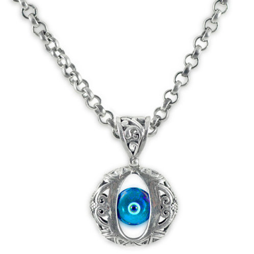 Solitaire Evil Eye Necklace