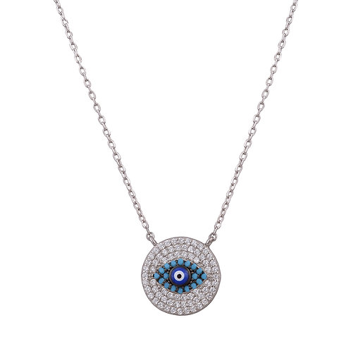 Blue and White Evil Eye Necklace