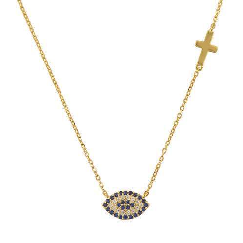 Blue and White Evil Eye and Cross Necklace