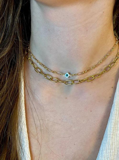 Serina Single Clover Evil Eye Necklace.