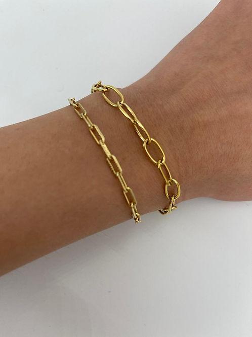 Katya Curved Paper Clip Chain Bracelet.
