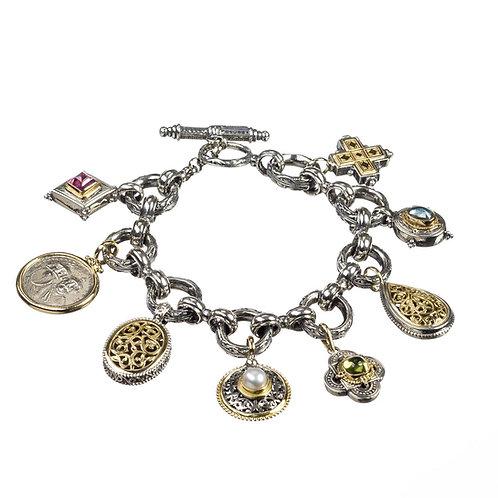 Two Tone Multi-Charm Bracelet