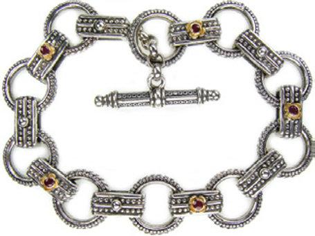 Granulated Renaissance Gold/Silver Link Bracelet.