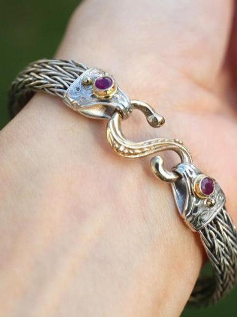 Baroque Two Tone Ruby Bangle Bracelet.
