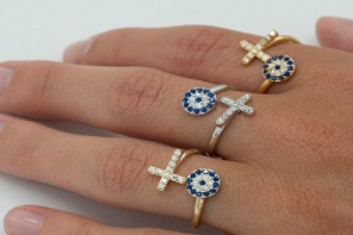 Evil Eye and Cross Ring