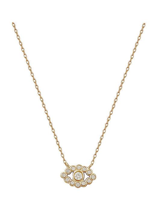 Gold Oval Embellished Evil Eye Necklace