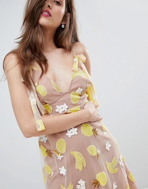 cc23396d4811 FOR LOVE AND& LEMONS pineapple Fruitpunch Sequin Midi Dress