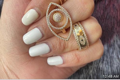 Savina Interlock Evil Eye Ring.