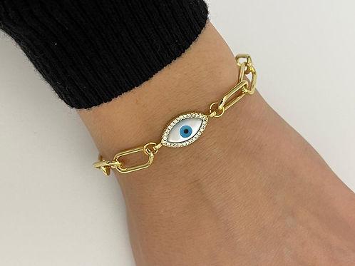 Jana MOP/CZ Evil Eye Bracelet.