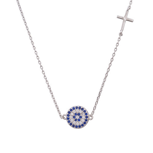 Evil Eye and Side Cross Necklace