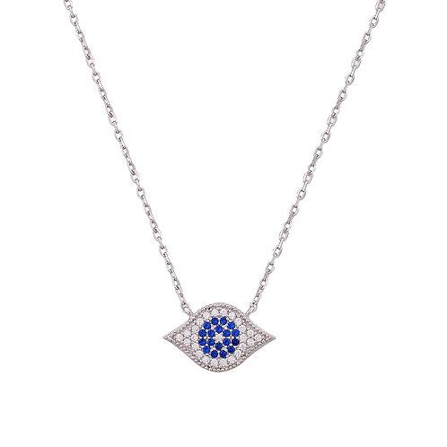Oval Embellished Evil Eye Necklace