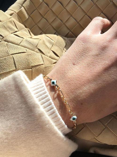 Sonya Paper Clip Evil Eye Bracelet